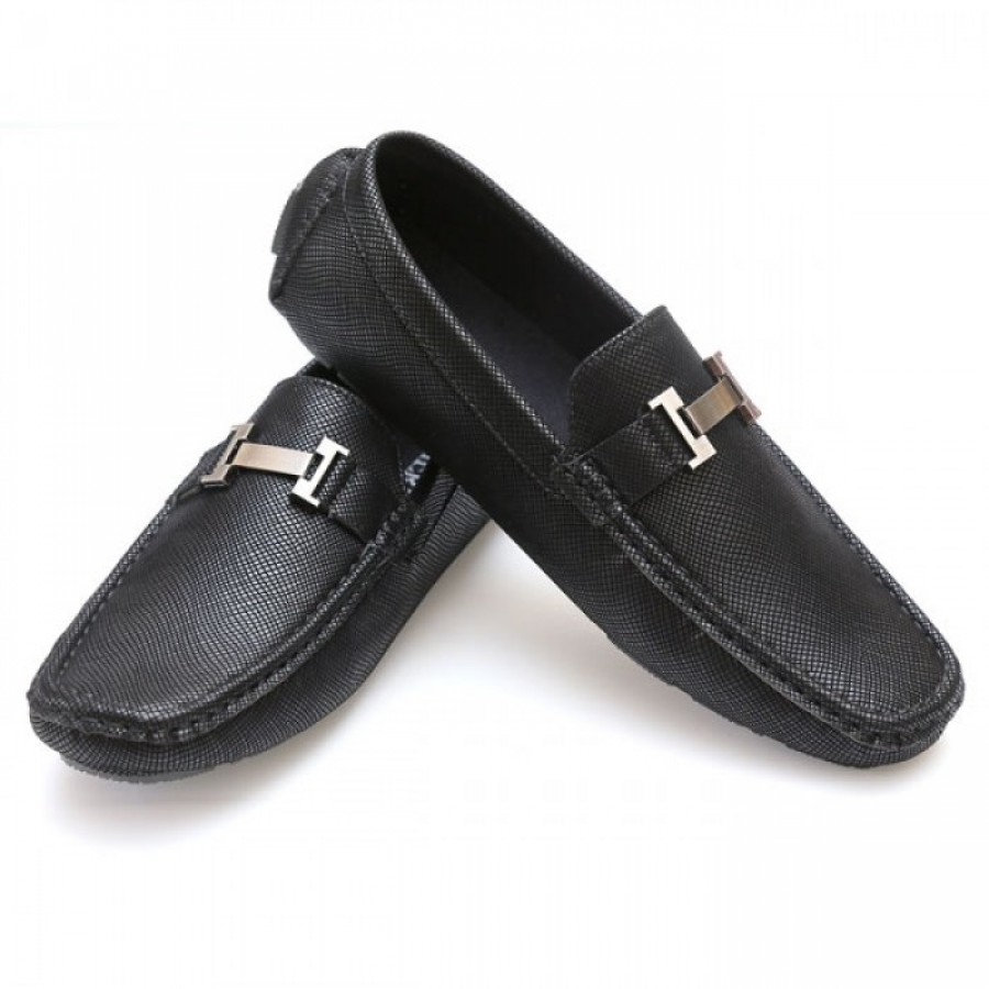 Hermes Black Stitched Stylish Design Loafer Shoes H1
