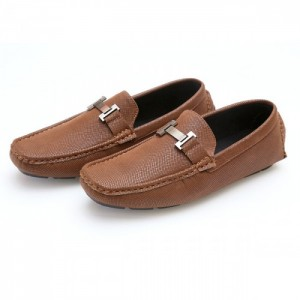 Hermes Brown Stitched Stylish Design Loafer Shoes H2