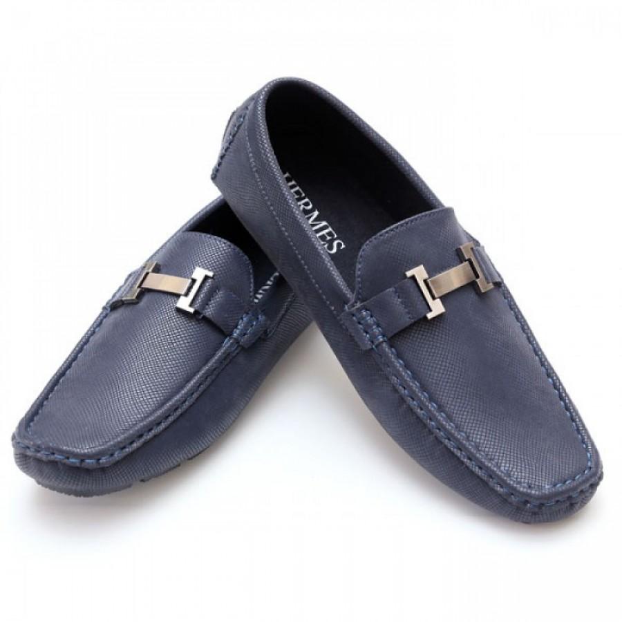 Hermes Blue Stitched Stylish Design Loafer Shoes H3