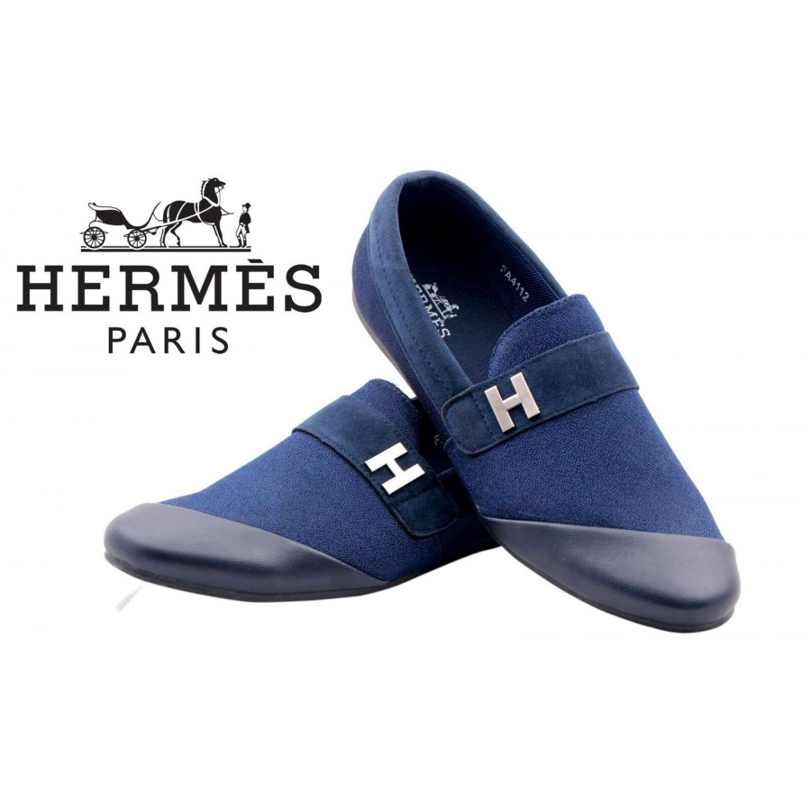 Hermes Paris Men Blue Shoes H5