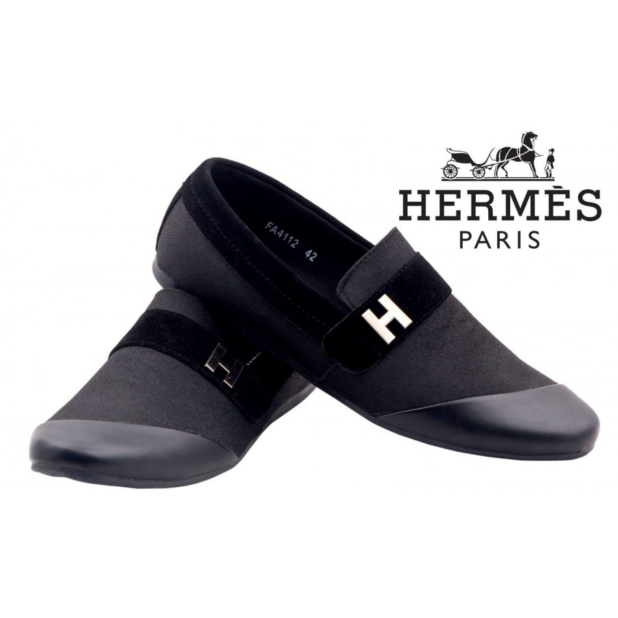 Hermes Paris Men Black Shoes H6