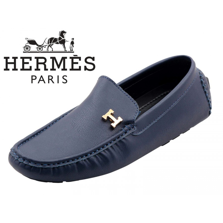 Hermes Paris Men Blue Shoes H7