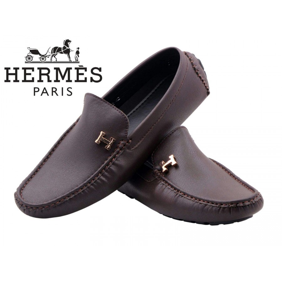 7a403e05f3 Sale Hermes Paris Men Brown Shoes H8 ...