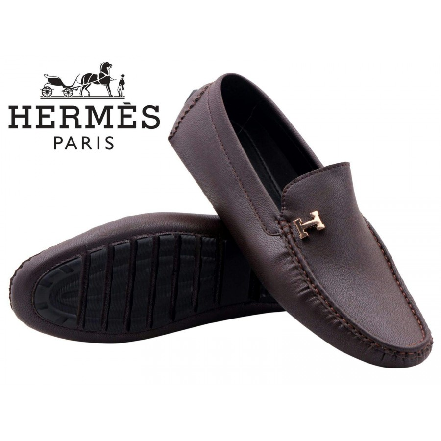 Hermes Paris Men Brown Shoes H8