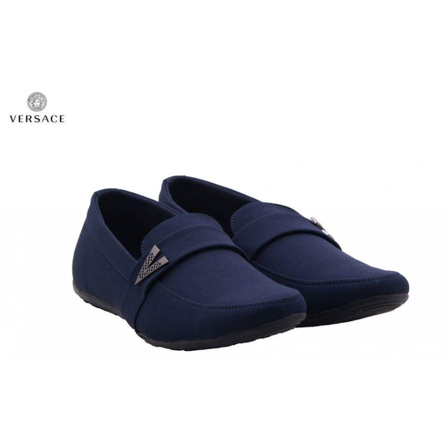 Versace Blue Decent Design Loafer Shoes V1