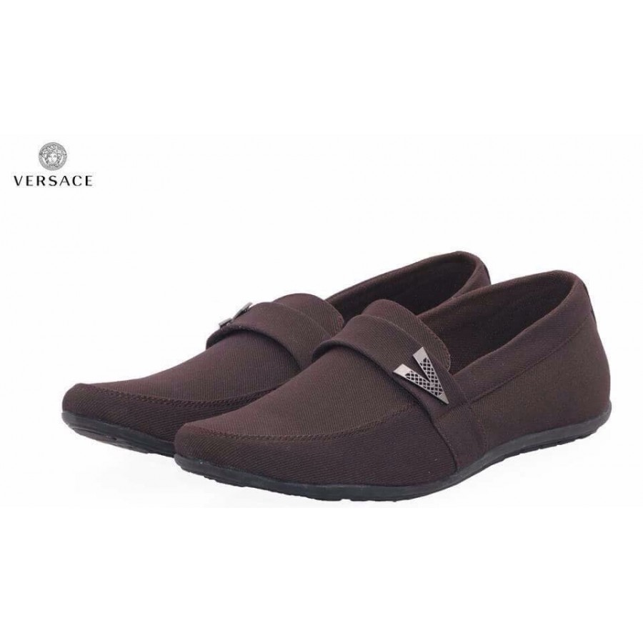 Versace Brown Decent Design Loafer Shoes V2