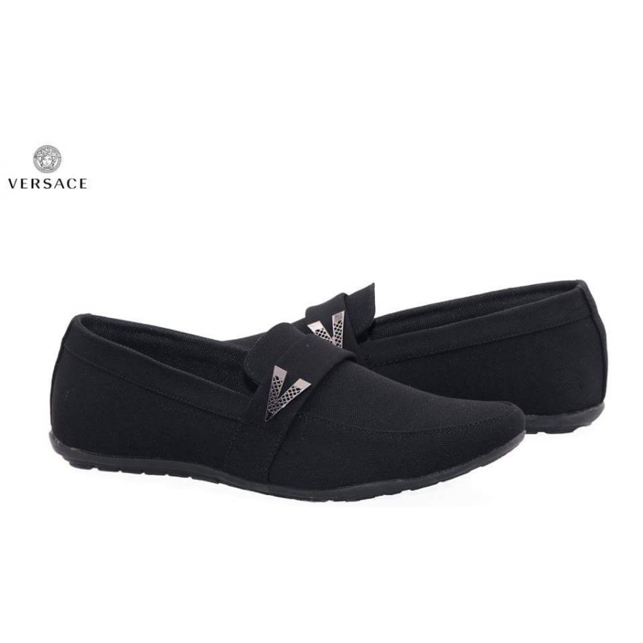 Versace Black Decent Design Loafer Shoes V3