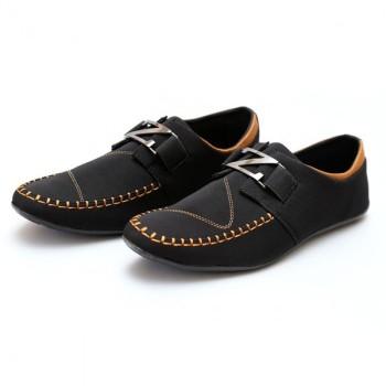 Zara Black, Brown Stitched Stylish Design Loafers Z10