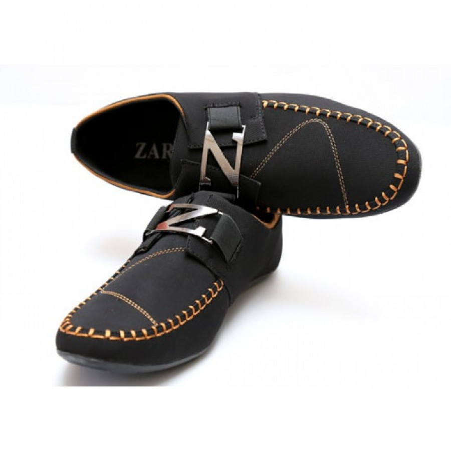 Zara Black, Brown Stitched Stylish Design Loafers Z10