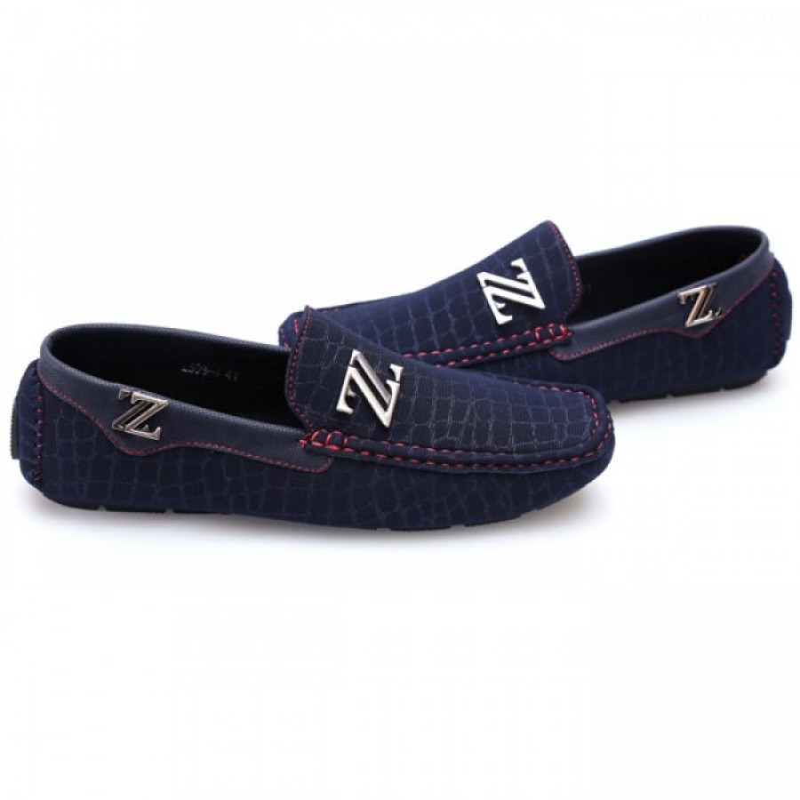 Zara Blue Red Stiched Stylish Loafers Z1