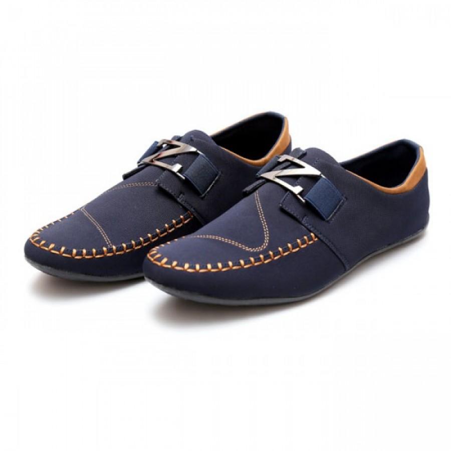 Zara Navy Blue, Brown Stitched Stylish Design Loafers Z11