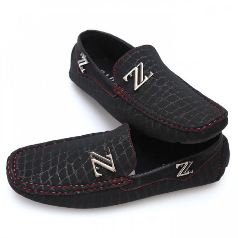 Zara Black Red Stiched Stylish Loafers Z2