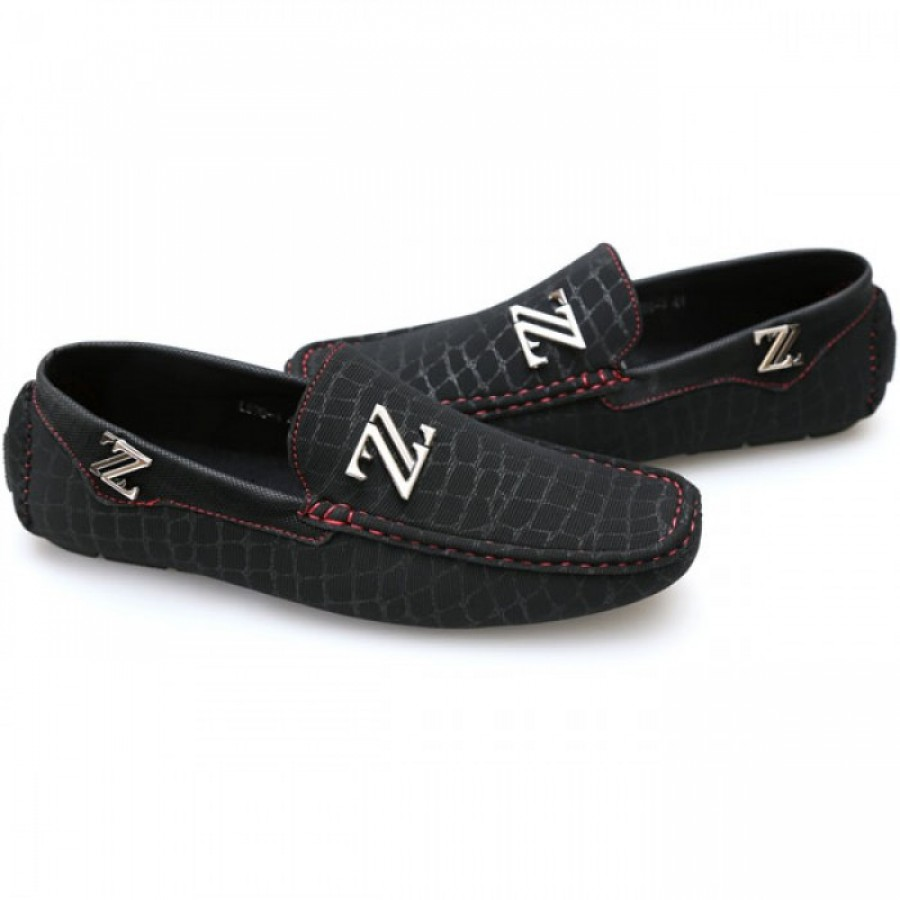 Zara Black Red Stiched Stylish Loafers Z2