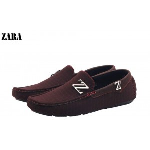 Zara Brown Red Stiched Stylish Loafers Z3