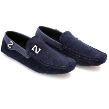 Zara Blue Stiched Textured Design Loafers Z4