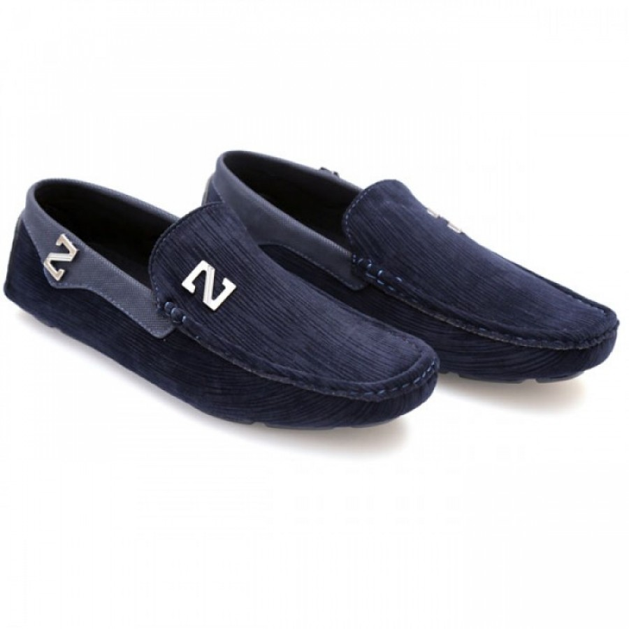 Zara Blue Stiched Textured Design Loafers Z4