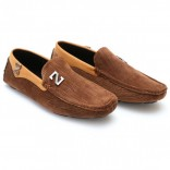 Zara Brown Stiched Textured Design Loafers Z5