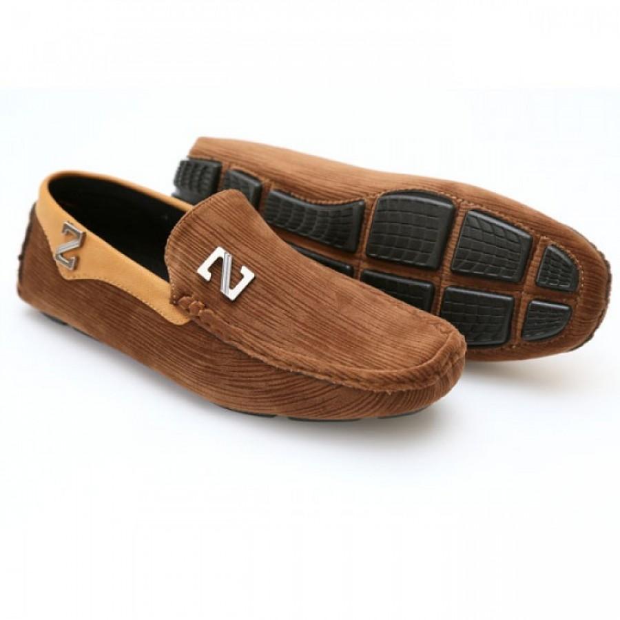 Zara Brown Stiched Textured Design Loafers Z5