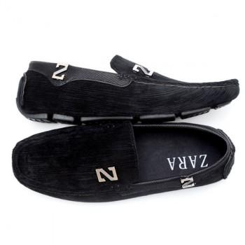 Zara Black Stiched Textured Design Loafers Z6