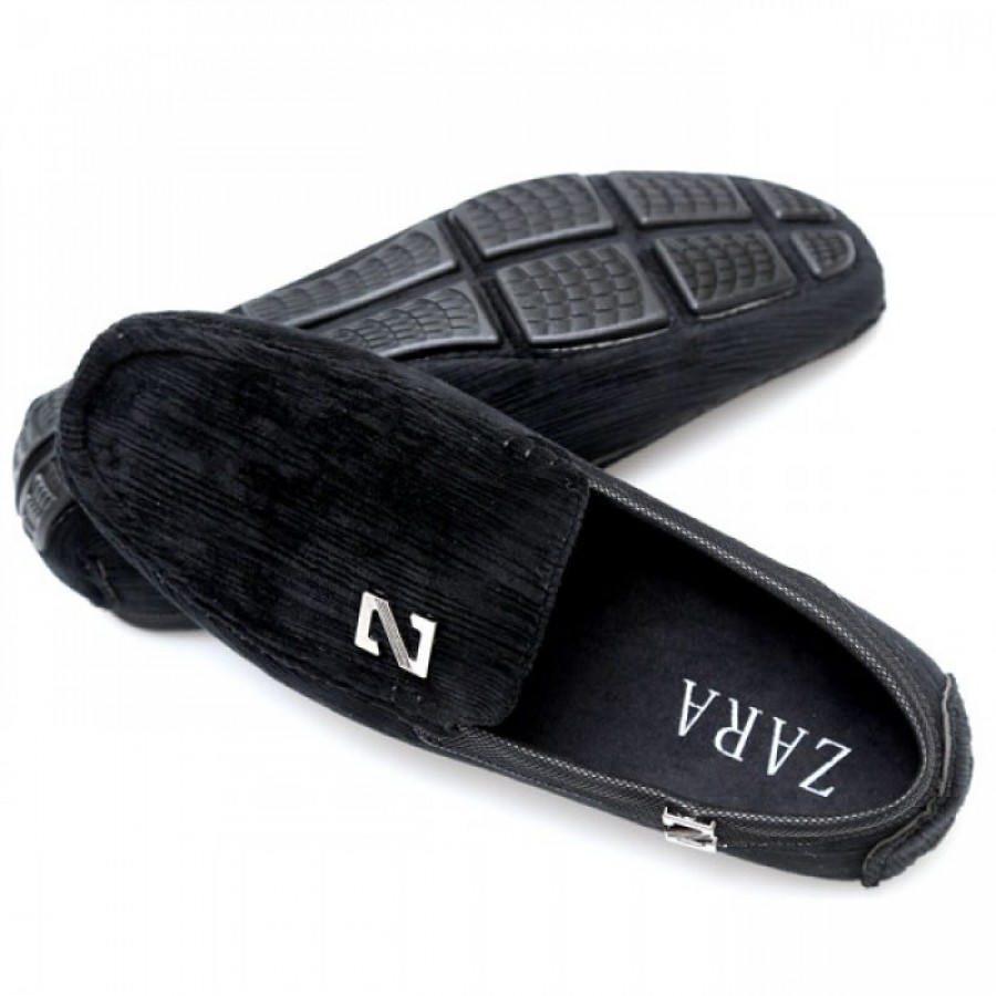 Zara Black Stiched Textured Design Loafers Z6