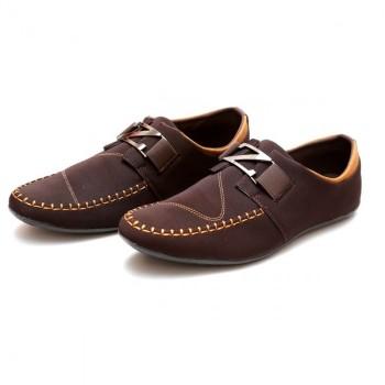 Zara Choco Brown Stitched Stylish Design Loafers Z9