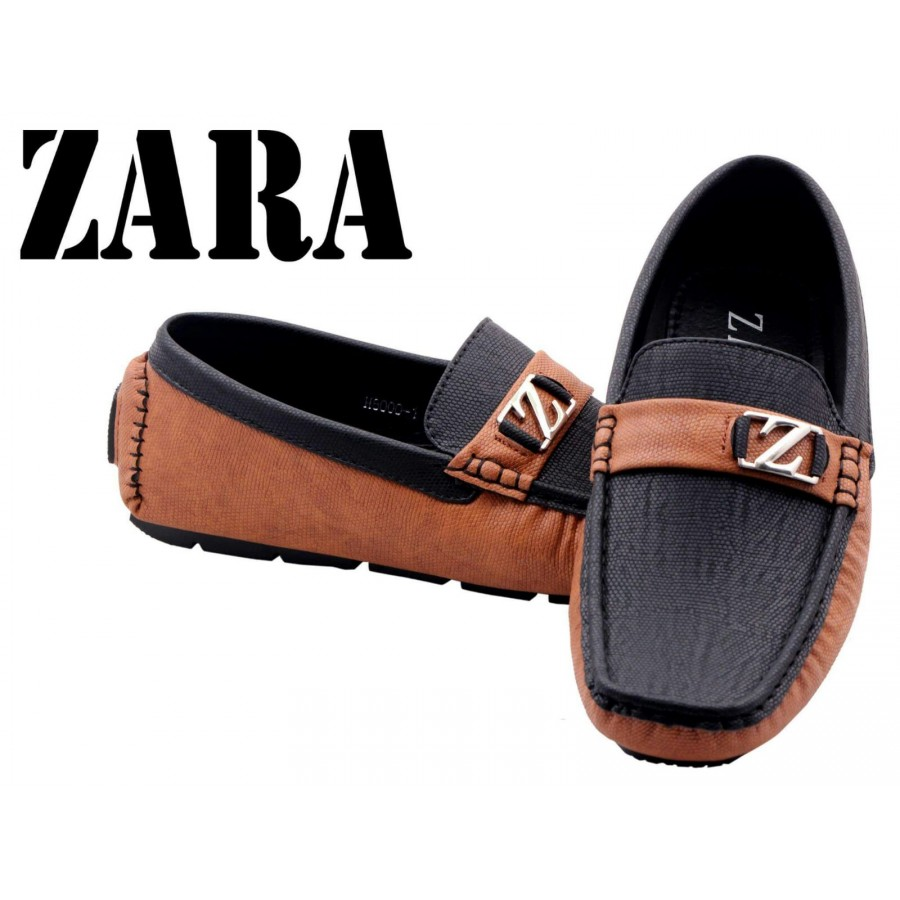Zara Men Brown and Black Logo Shoes Z12