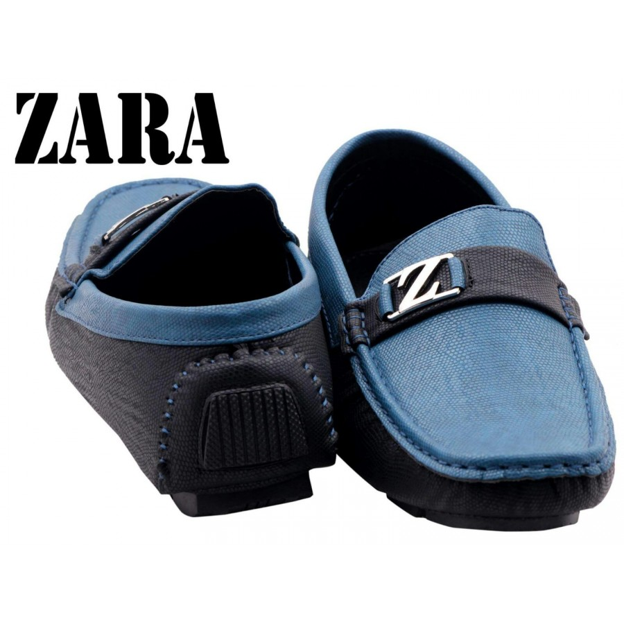 Zara Men Blue and Black Logo Shoes Z13