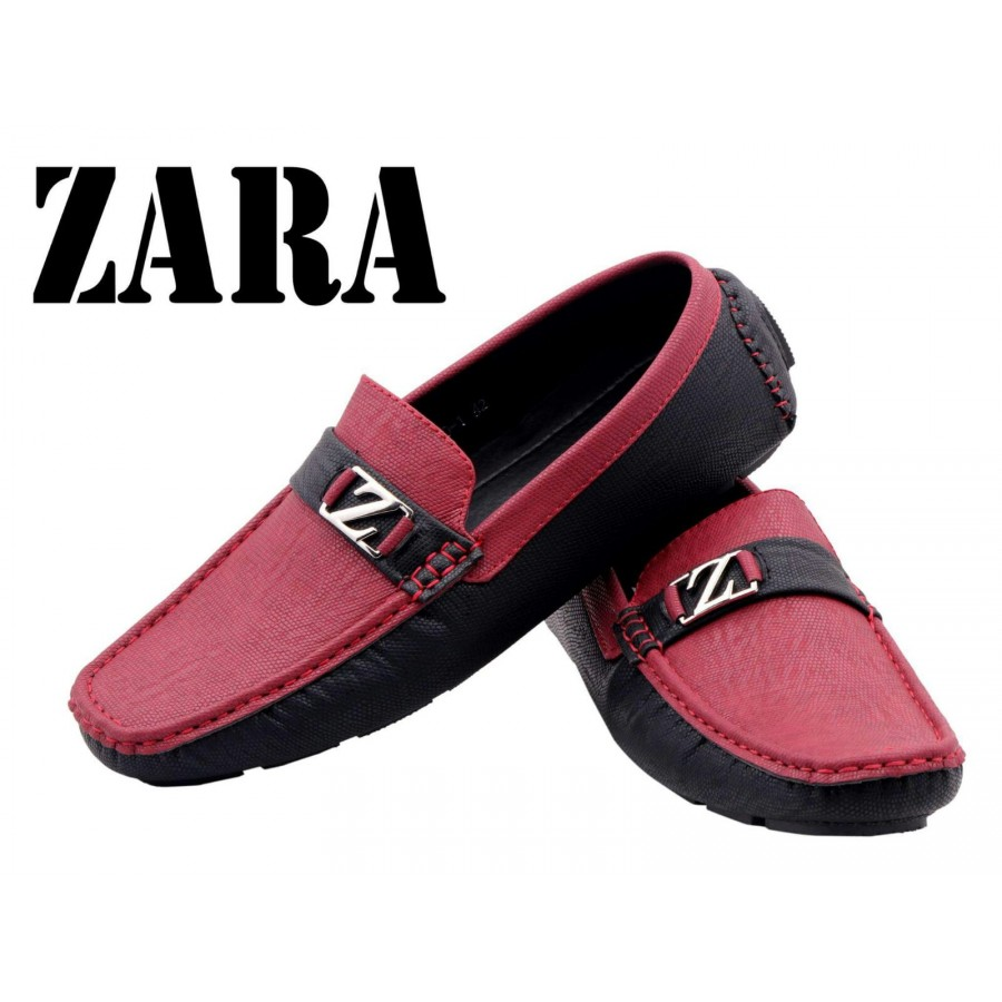 Zara Men Red and Black Logo Shoes Z14