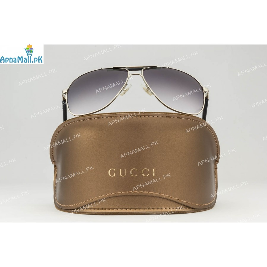 Gucci Silver Black Aviator