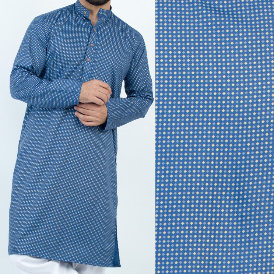 Blue Stylish Printed Kurta For Men - Design 1