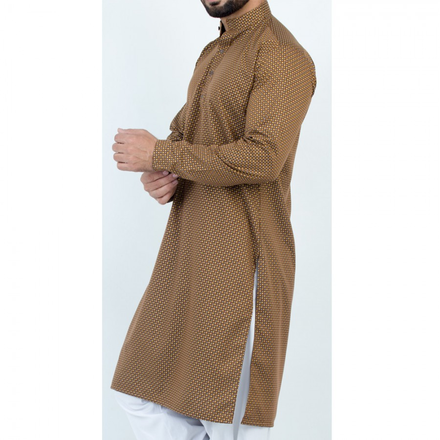 Brown Stylish Printed Kurta For Men - Design 1