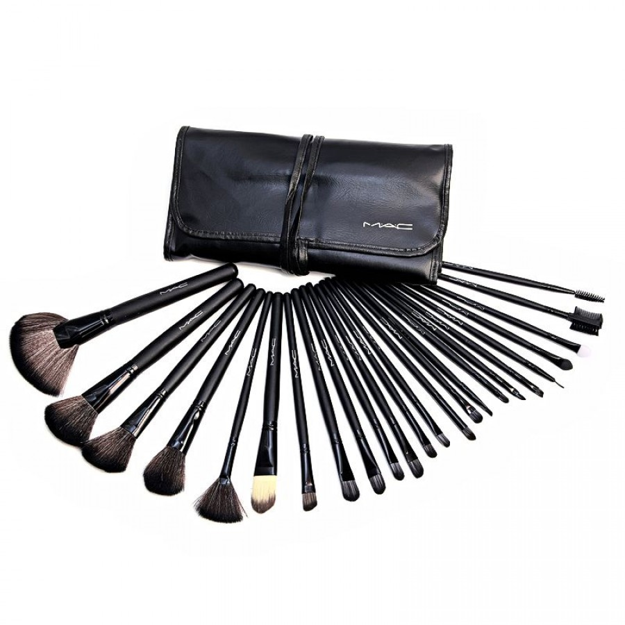 24 Piece MAC Makeup Brush Set With Leather Pouch