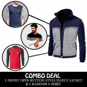Combo Deal 1 Front Open Button Style Fleece Jacket And 1 Random T-Shirt