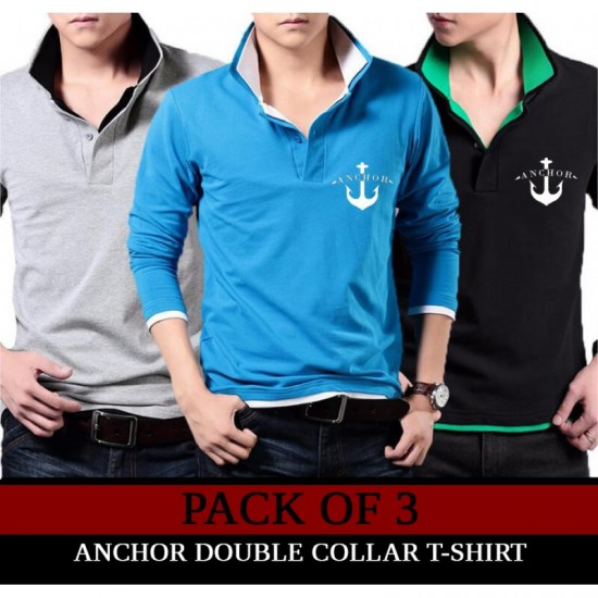 Pack Of 3 Anchor Collar T-Shirt