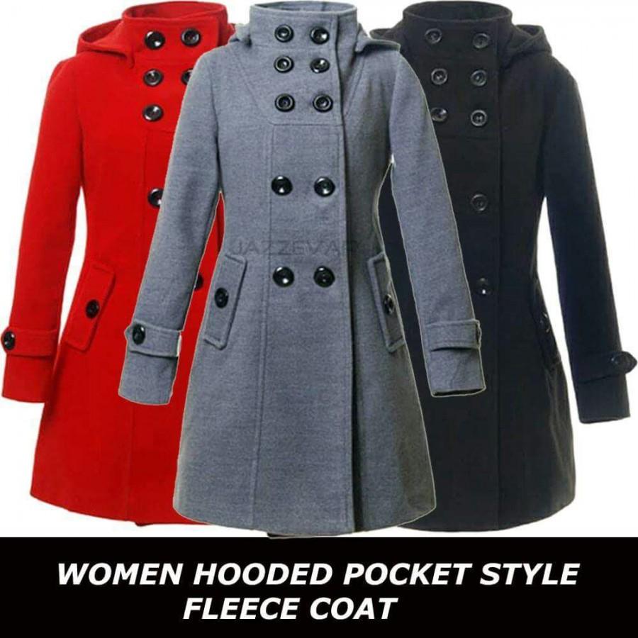 Women Hoooded Pocket Style Fleece Coat