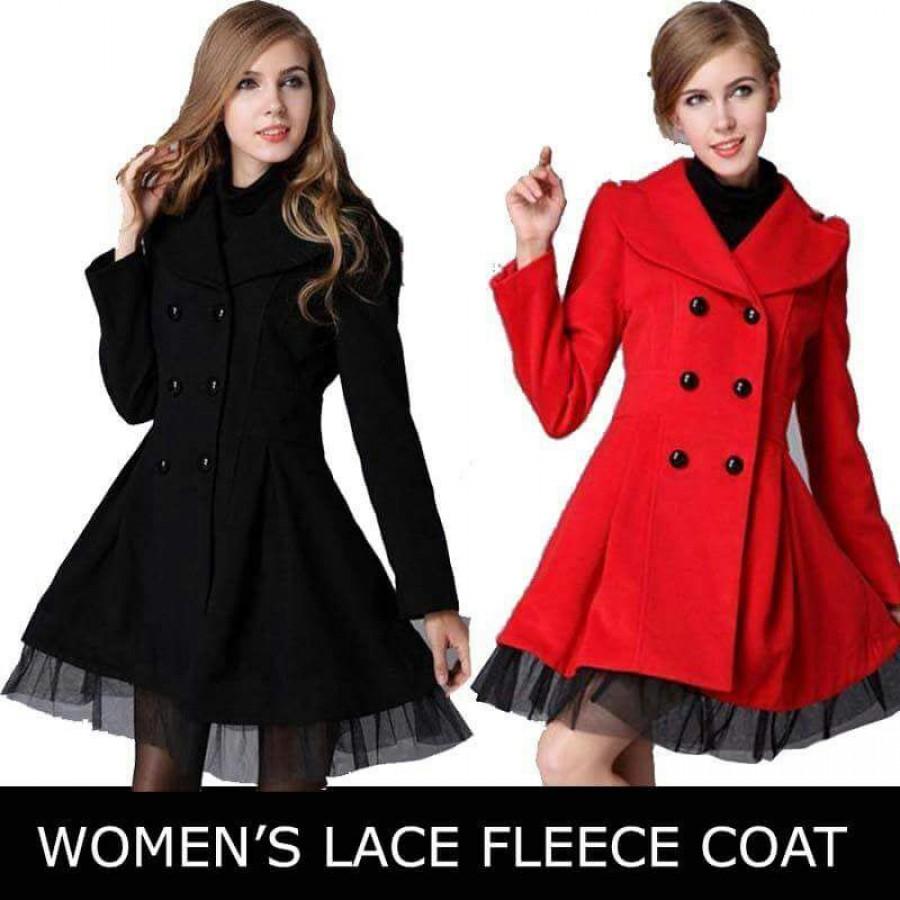 Womens Lace Fleece Coat