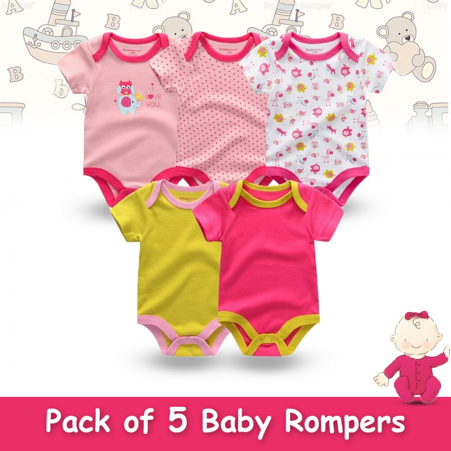 Pack of 5 Baby Rompers Design 10
