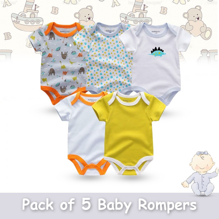 Pack of 5 Baby Rompers Design 11