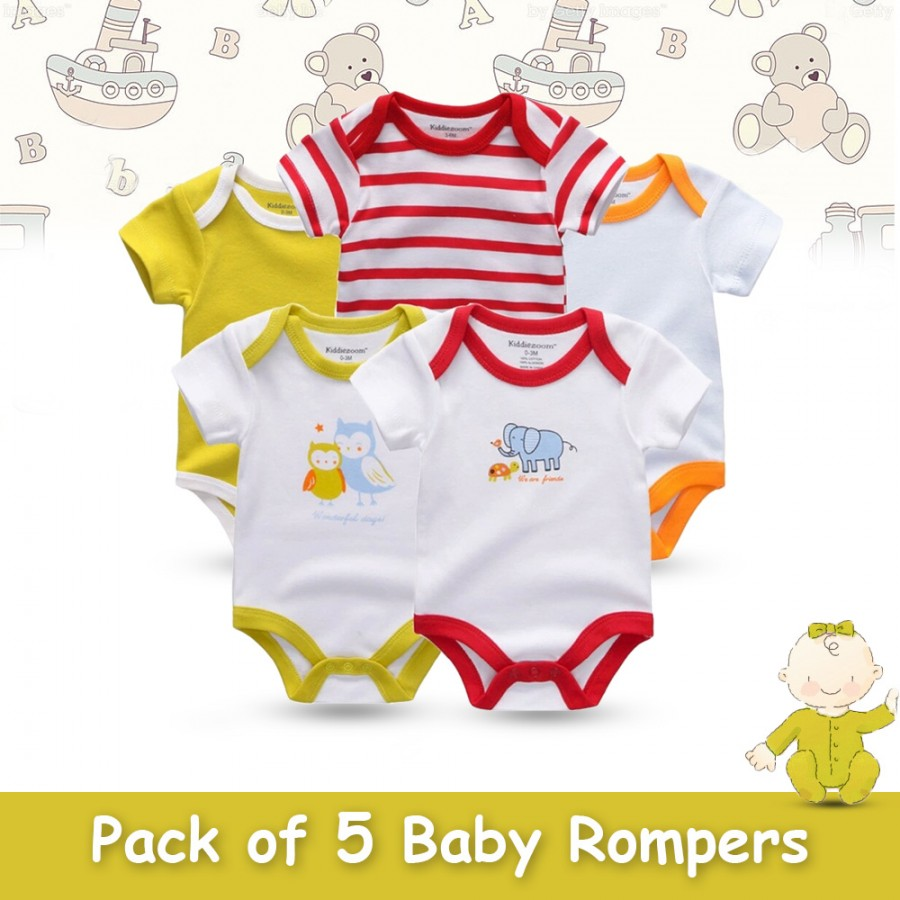 Pack of 5 Baby Rompers Design 12