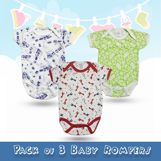 Pack of 3 Baby Rompers Design 2