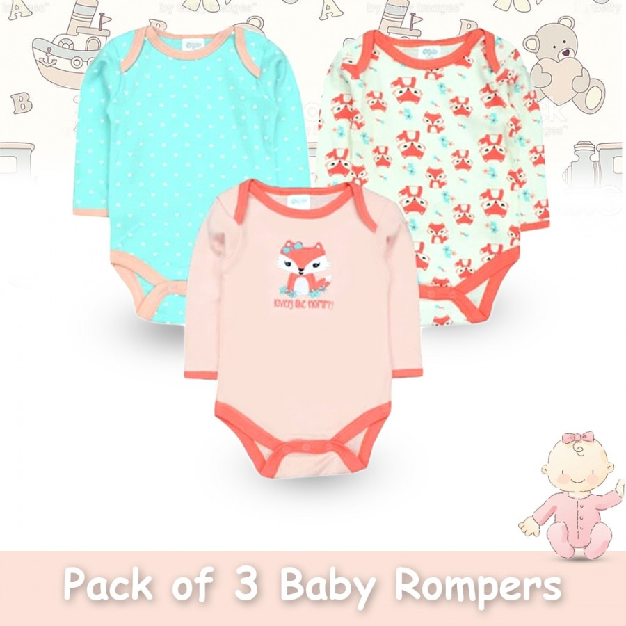 Pack of 3 Baby Rompers Design 3