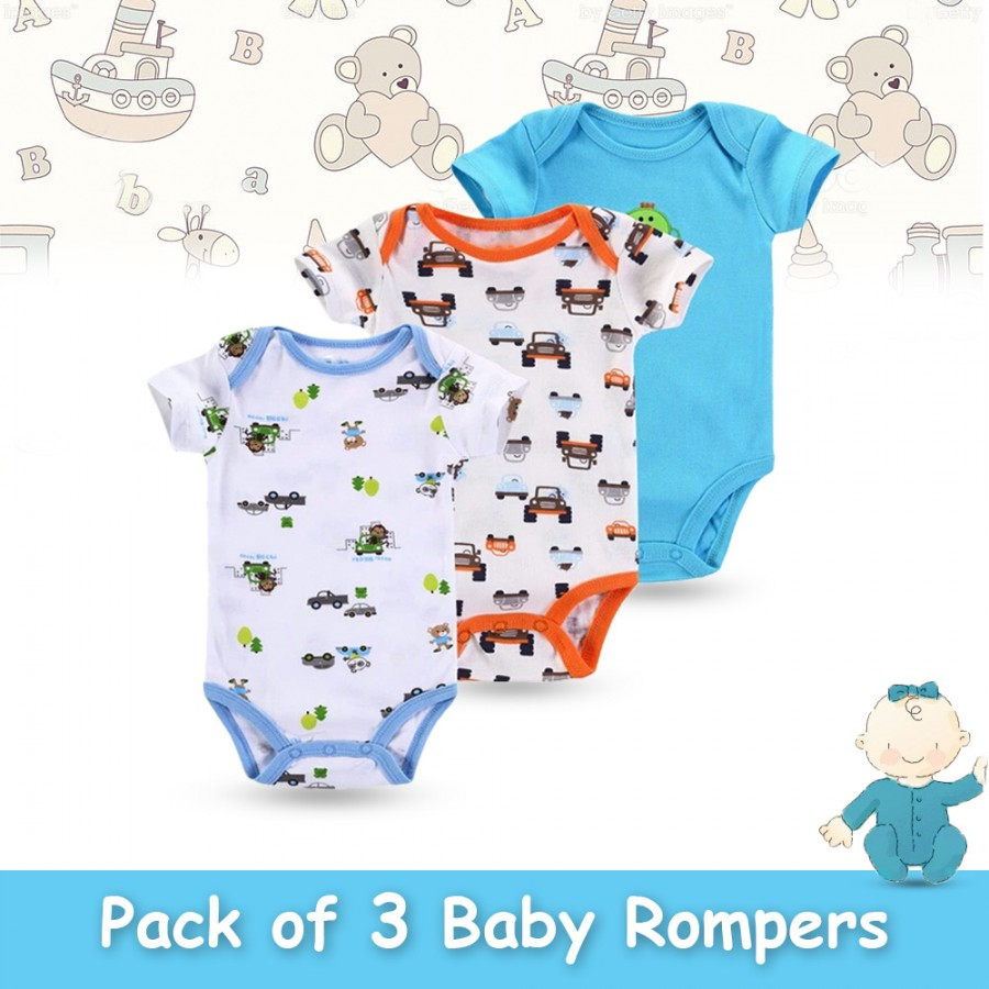 Pack of 3 Baby Rompers Design 4