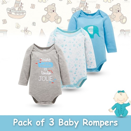 Pack of 3 Baby Rompers Design 7