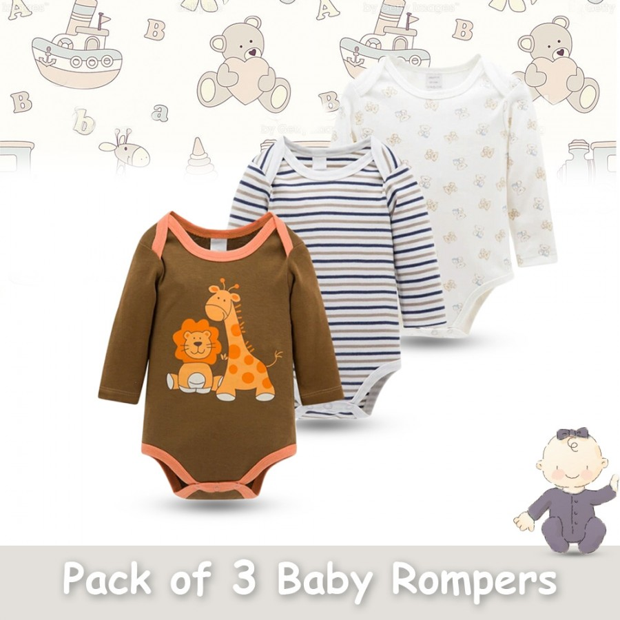 Pack of 3 Baby Rompers Design 8