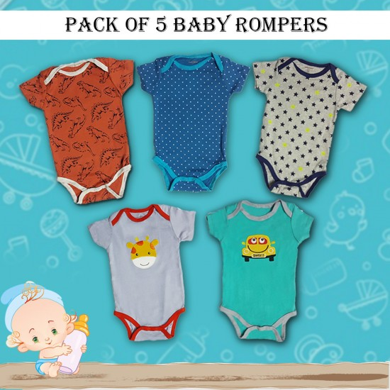 Pack of 5 Baby Rompers