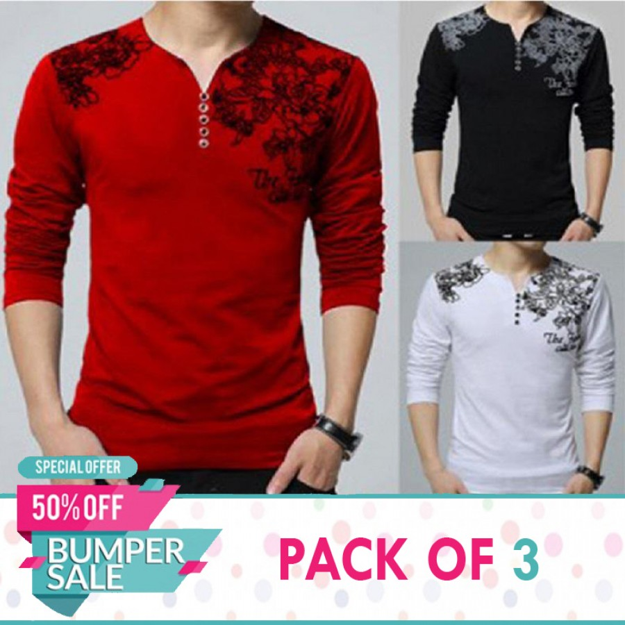 Pack Of 3 Y Neck Full Sleeves Printed T-Shirts- Bumper Discount Sale