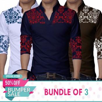 Pack of 3 Shoulder Flower Printed Sherwani Collar  T-Shirt-Bumper Discount Sale