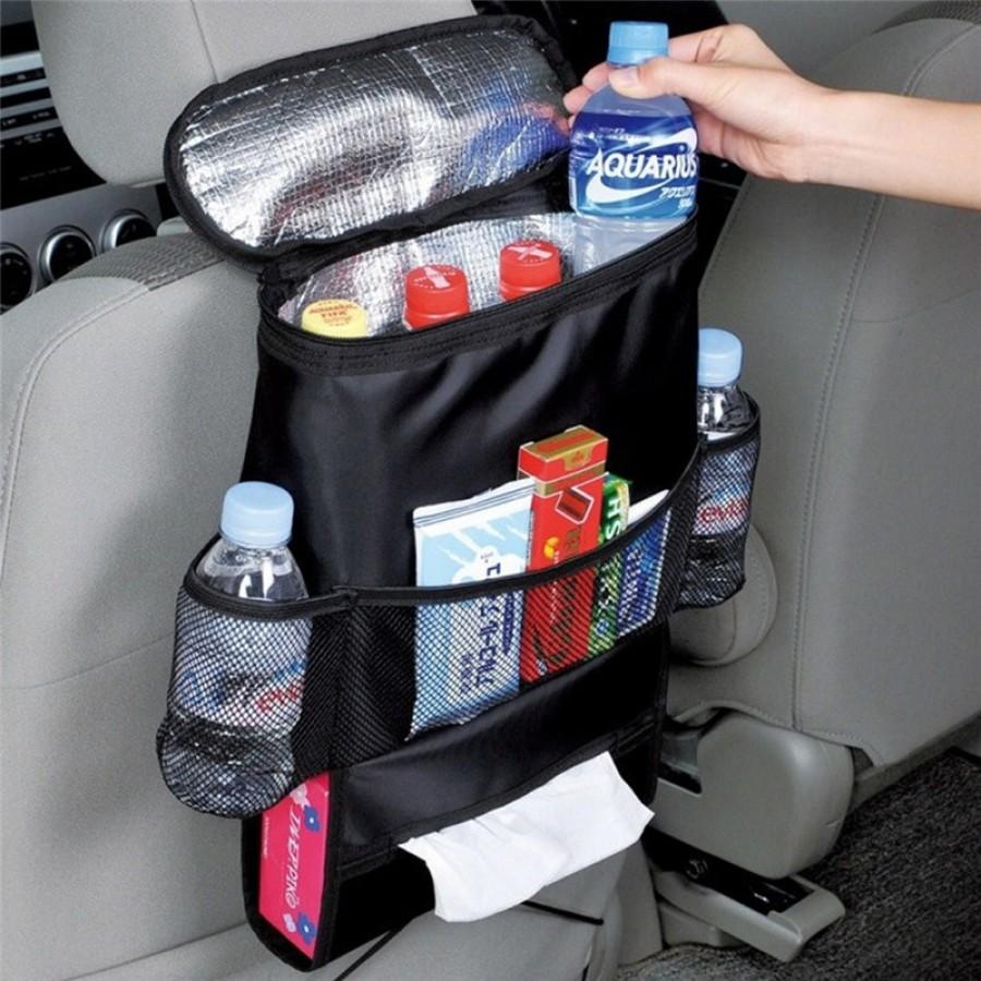 Car Seat Organizer insulated Food & Drinks Storage Container (Get Free Anti-Heat Car Steering Wheel Sun Shade)