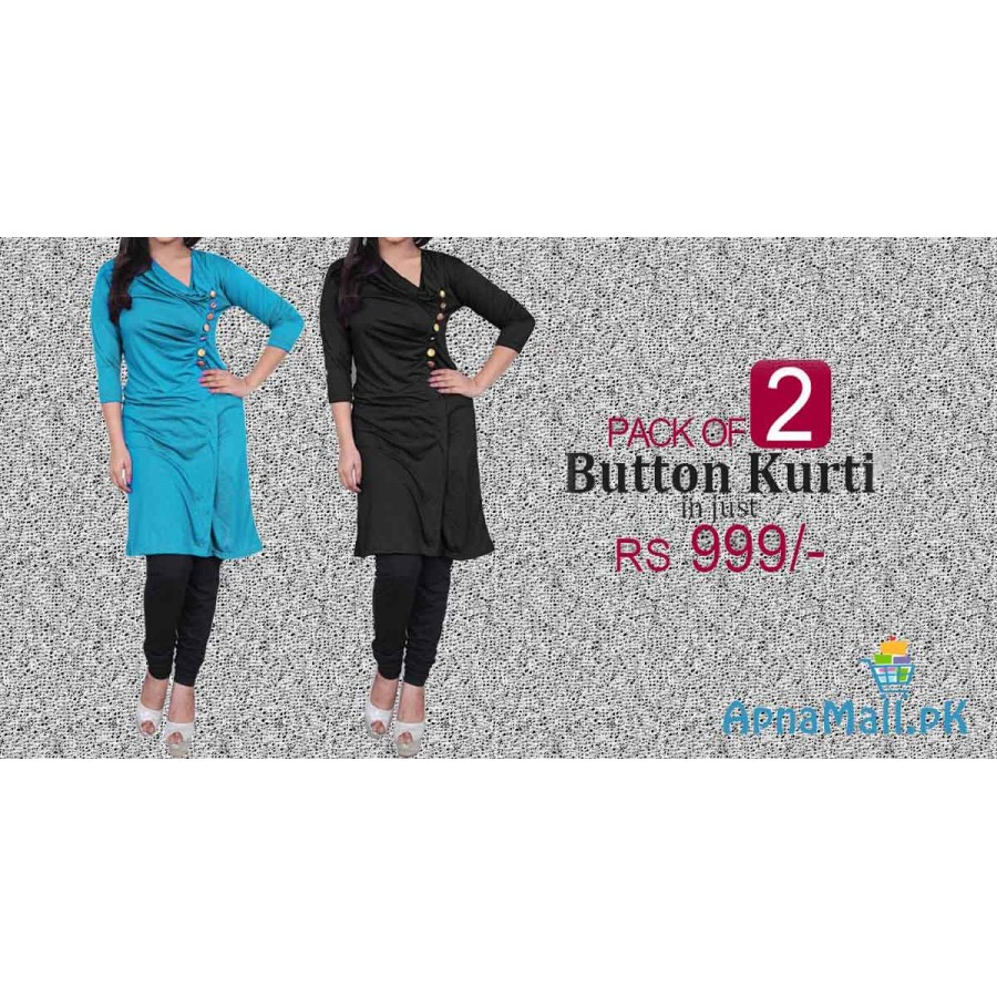 Pack of 2 Ladies Button Kurti