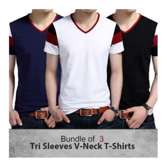Pack of 3 Tri-Sleeves V-Neck T-Shirts